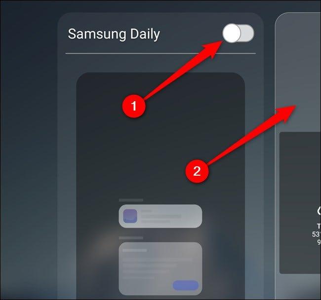 Samsung Galaxy S20 Schalten Sie Samsung Daily aus und wählen Sie dann den Startbildschirm