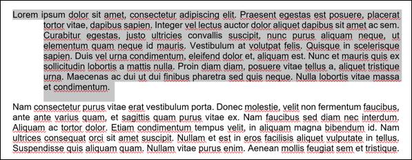 Ein Textbeispiel aus einem Microsoft Word-Dokument mit einem hängenden Einzug auf den ersten Absatz.