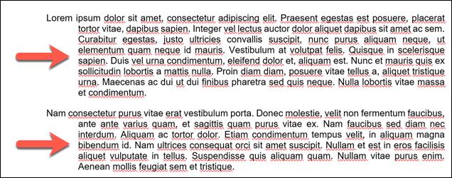 Ein Beispiel für hängende Einzüge, die auf mehrere Absätze in einem Microsoft Word-Dokument angewendet werden