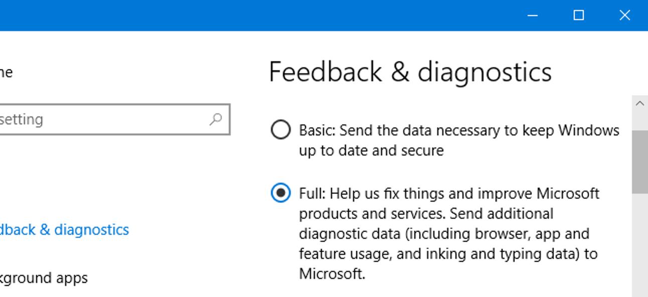 Was bewirken die grundlegenden und vollständigen Telemetrieeinstellungen von Windows 10 eigentlich?