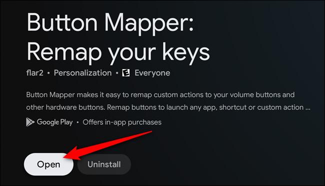 """Wähle aus """"Offen"""" Schaltfläche, sobald die Button Mapper-App installiert ist"""