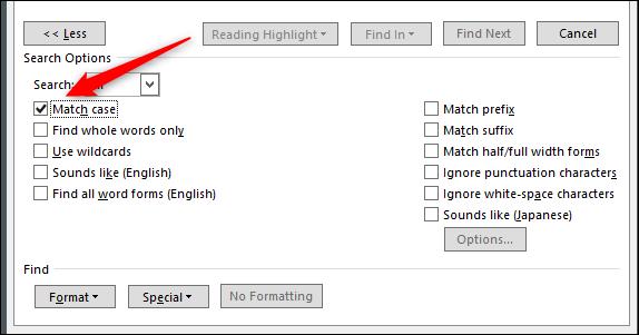 Match-Case-Option