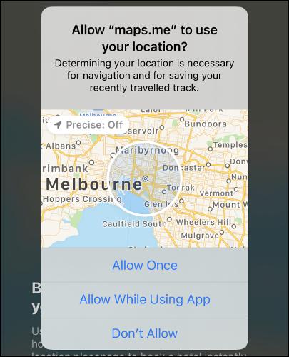 """EIN """"Präzise: Aus"""" Standort auf einer Karte in iOS 14."""