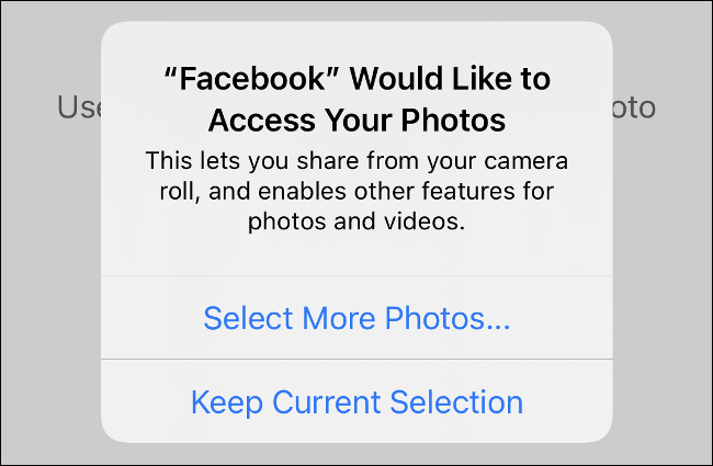 """Tippen """"Wählen Sie Mehr Fotos"""" in der Eingabeaufforderung für App-Berechtigungen."""