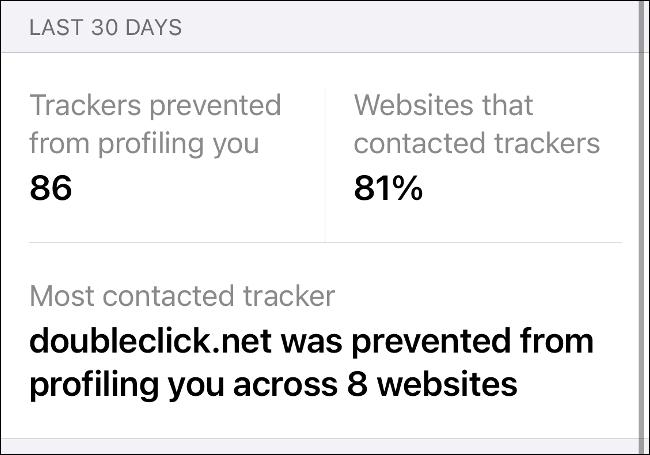 Ein Datenschutzbericht in Safari.