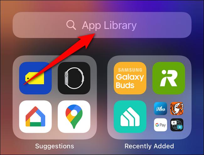 """Tippen Sie auf die """"App-Bibliothek"""" Suchleiste"""