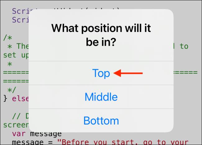 Tippen Sie auf die Stelle, an der Sie das Widget platzieren möchten.