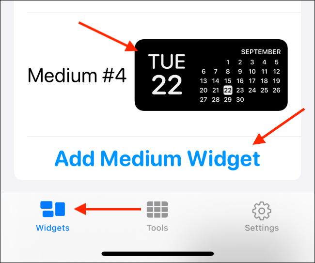 """Tippen """"Widgets,"""" Tippen Sie auf die Größe, die Sie hinzufügen möchten, und wählen Sie dann ein Bild aus."""