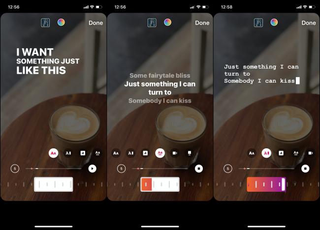 Unterschiedlicher Textstil für Musik auf Instagram Story