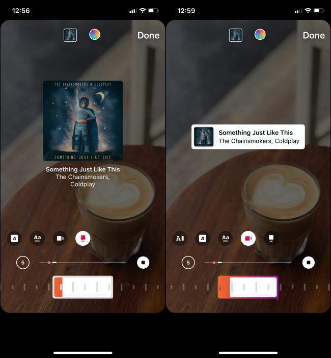 Unterschiedlicher Cover-Art-Stil für Musik auf Instagram Story