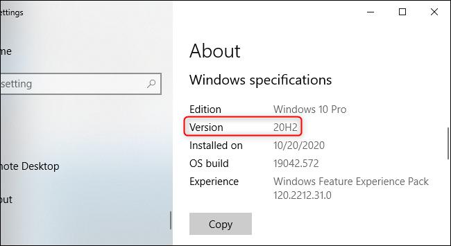 Die Einstellungs-App von Windows 10 zeigt Version 20H2 an.