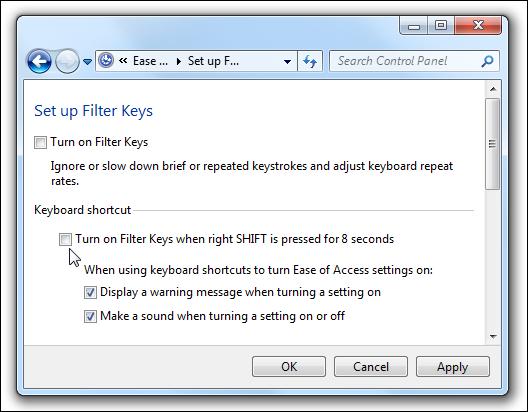 Filterschlüssel deaktivieren