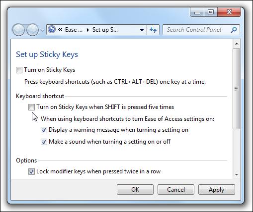 Sticky Keys deaktivieren