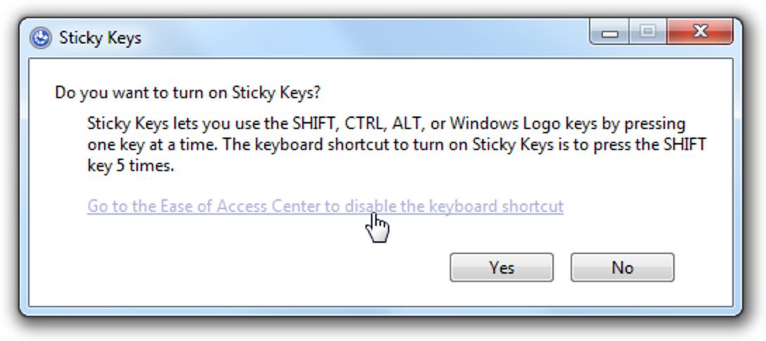 Deaktivieren Sie die Popup-Dialoge für irritierende Sticky / Filter Keys