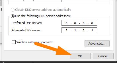 """Geben Sie die DNS-Serveradressen ein und klicken Sie dann auf """"OK."""""""