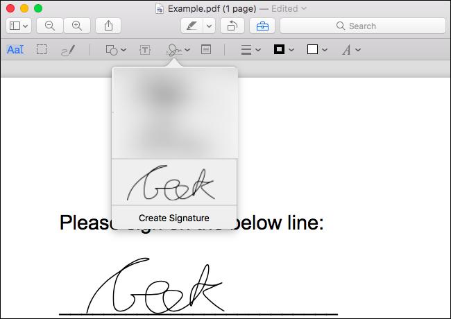 Klicken Sie auf die erstellte Signatur, um sie in das Dokument einzufügen