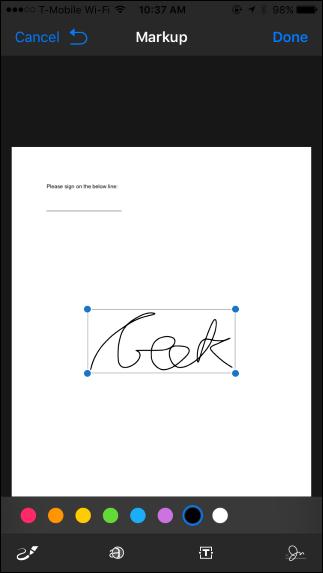 """Zeichne deine Unterschrift und tippe dann auf das """"Erledigt"""" Taste"""