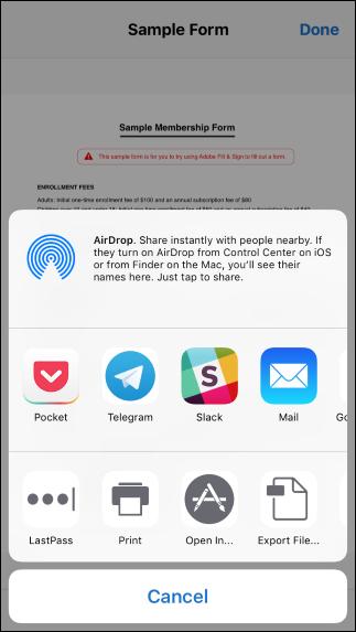 Teilen Sie das Dokument und wählen Sie die App aus, in der Sie das Dokument anzeigen möchten