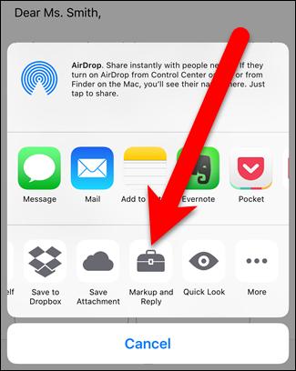 """Tippen Sie auf die """"Markup und Antwort"""" aus dem Teilen-Menü des iPhones oder iPads"""