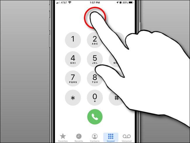 Tippen und halten Sie im Nummernanzeigebereich und lassen Sie dann in der iPhone Phone-App los.