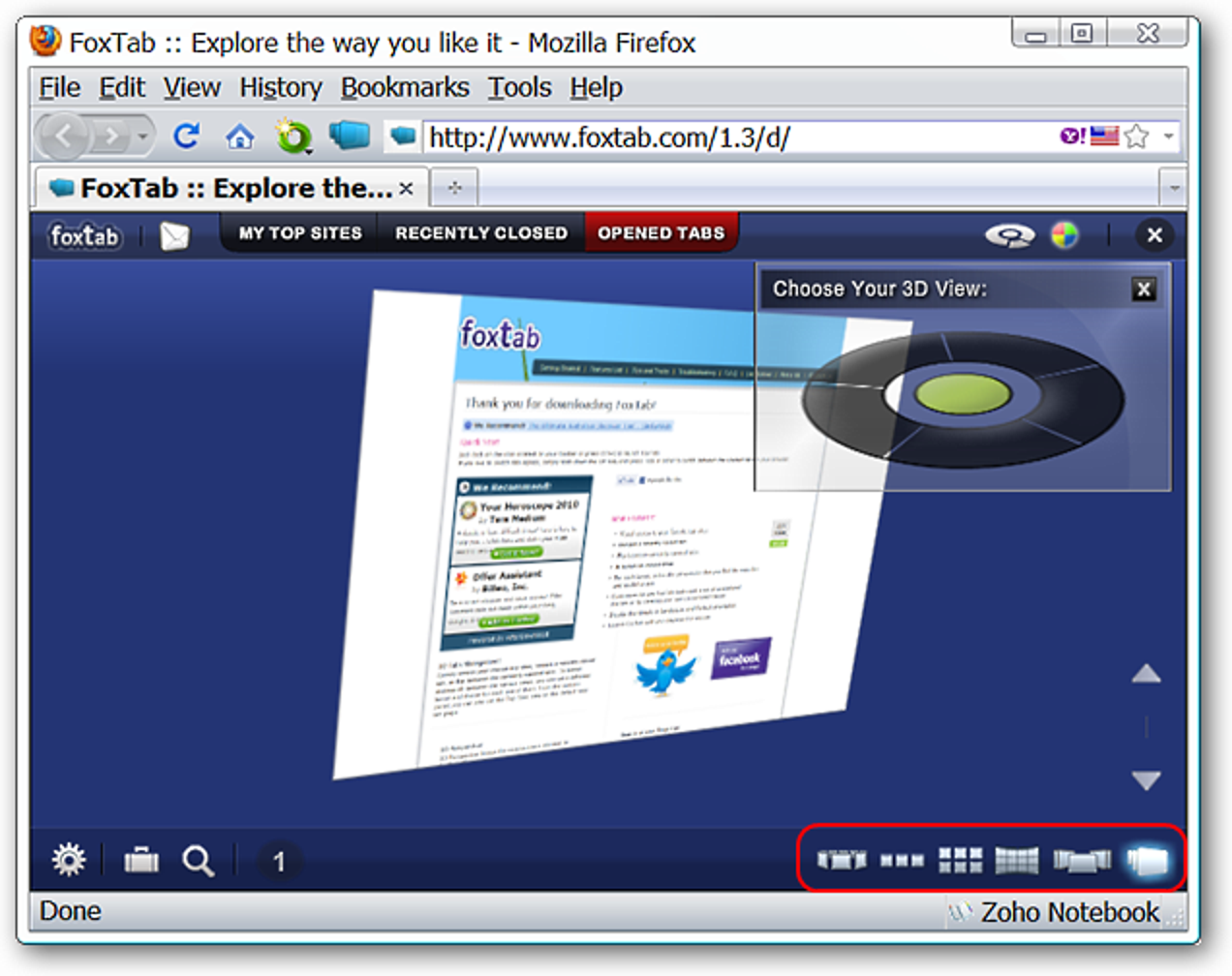 Anzeigen und Wechseln zwischen Firefox-Tabs in 3D