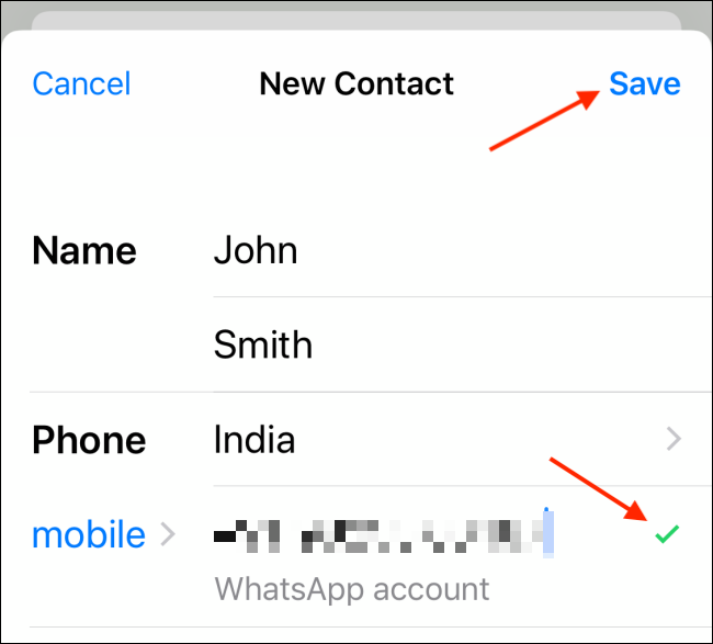 Geben Sie die Kontaktdaten ein und tippen Sie auf Speichern auf dem iPhone