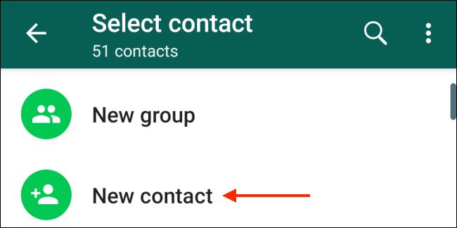 Tippen Sie in Android auf die Schaltfläche Neuer Kontakt