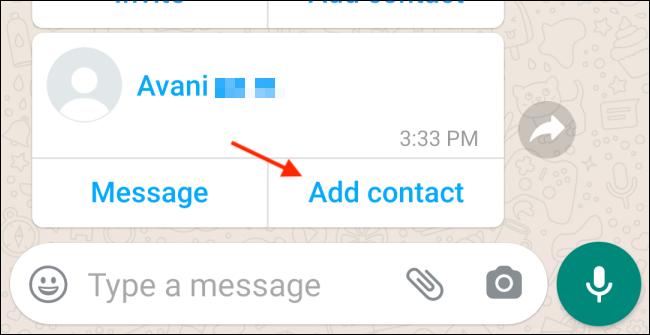 Tippen Sie in Android WhatsApp auf Kontakt hinzufügen