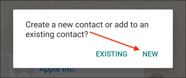 Tippen Sie auf die Schaltfläche Neu für den Kontakt auf Android