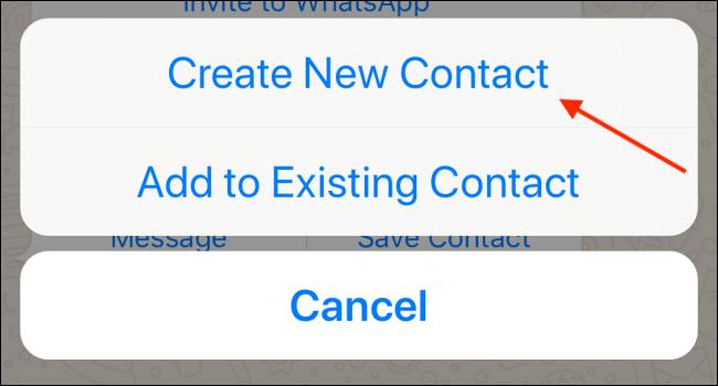 Tippen Sie in WhatsApp auf dem iPhone auf Neuen Kontakt erstellen