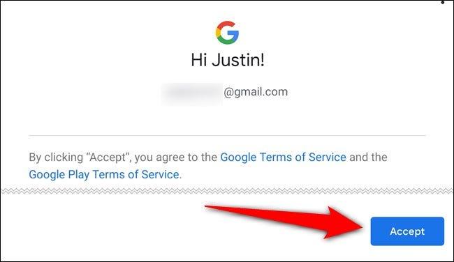 Akzeptiere die Nutzungsbedingungen von Google