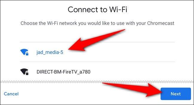 """Wählen Sie das Wi-Fi-Netzwerk aus, tippen Sie auf das """"Nächste"""" und melden Sie sich an"""
