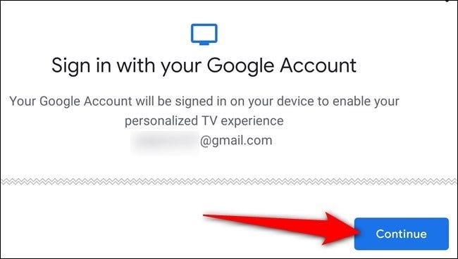 Befolgen Sie die Anweisungen auf dem Bildschirm, um sich bei Ihrem Google-Konto anzumelden