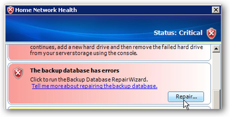 Reparieren Sie den fehlenden Datenbankfehler der externen Festplatte in WHS