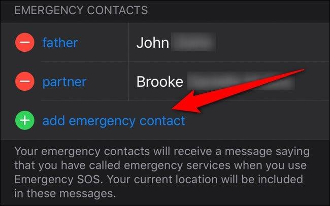 Apple iPhone Health App Wählen Sie Notfallkontakt hinzufügen