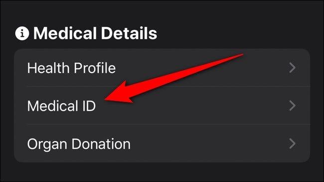 Apple iPhone Health App Medizinische ID auswählen