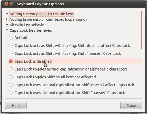 Optionen für das Tastaturlayout