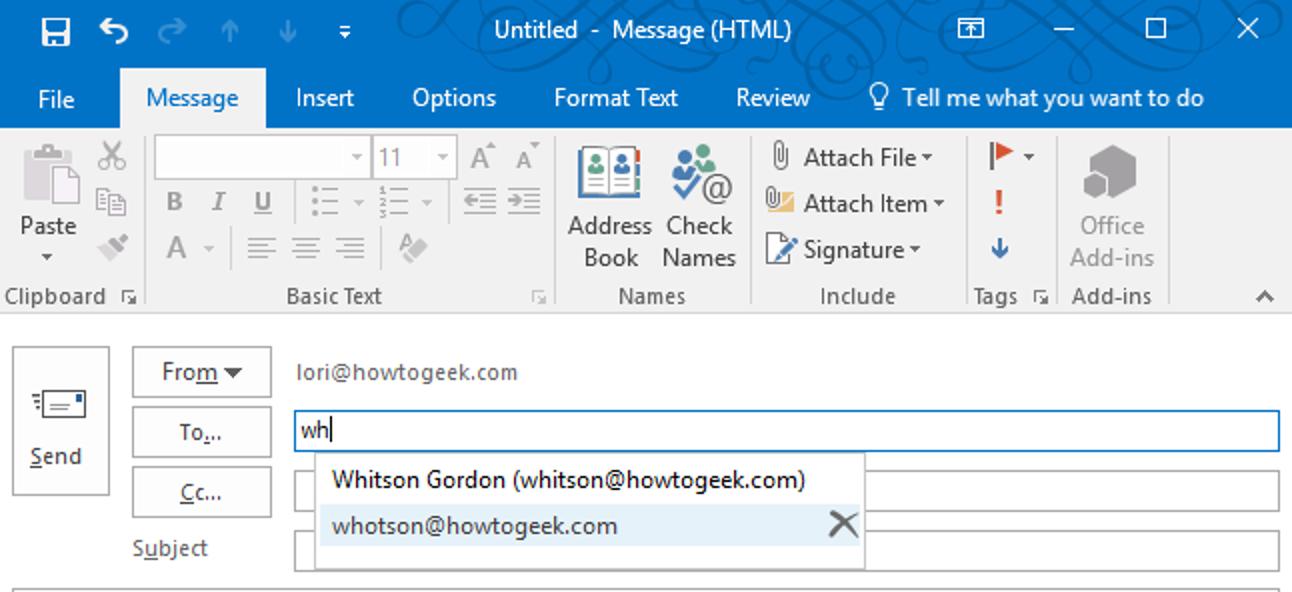 So löschen Sie eine E-Mail-Adresse aus der Auto-Vervollständigen-Liste in Outlook für Windows
