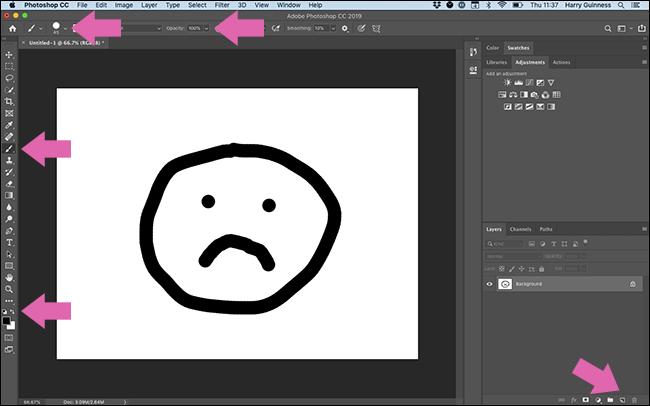 Pfeile, die auf alles hinweisen, was Sie in der Photoshop-Benutzeroberfläche anklicken müssen, um einen schwarzen Kreis zu malen.