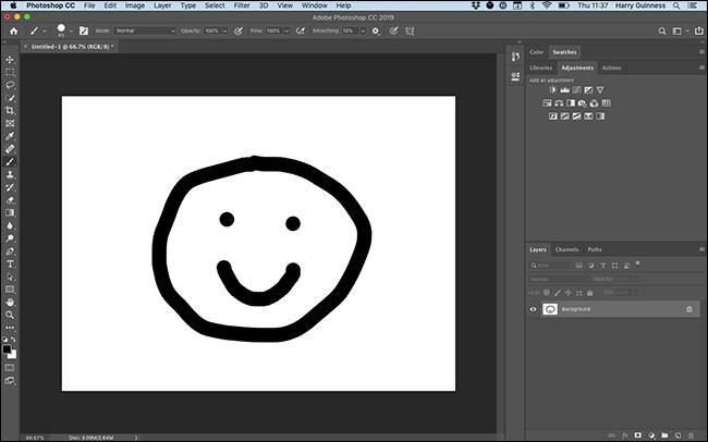 Ein Gemälde eines Smileys in Photoshop.