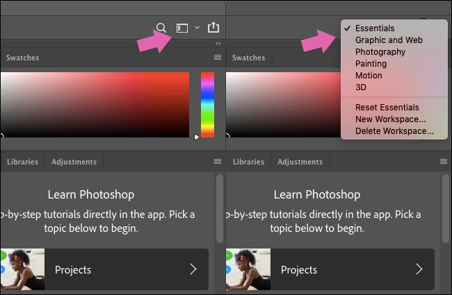 Das Menü Arbeitsbereiche in Photoshop.