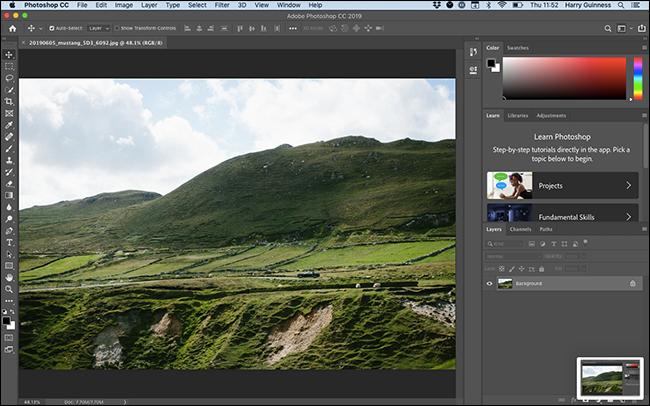 Der Essentials-Arbeitsbereich in Photoshop.
