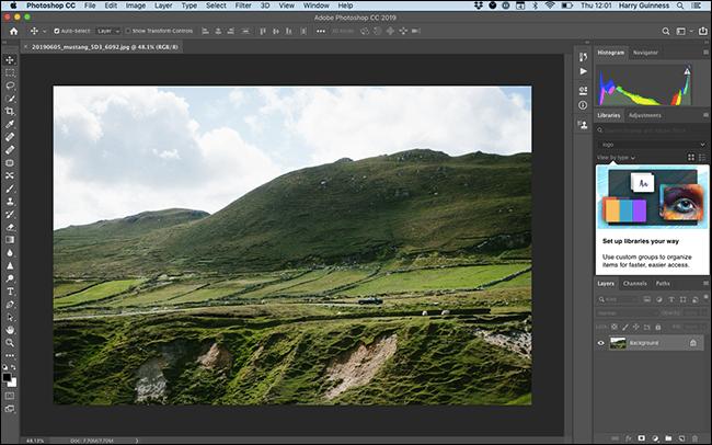 """Die """"Fotografie"""" Arbeitsbereich in Photoshop."""