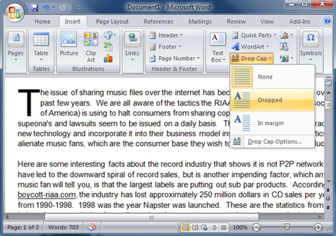 Hervorhebung von Absätzen mit Großbuchstaben in Word 2007