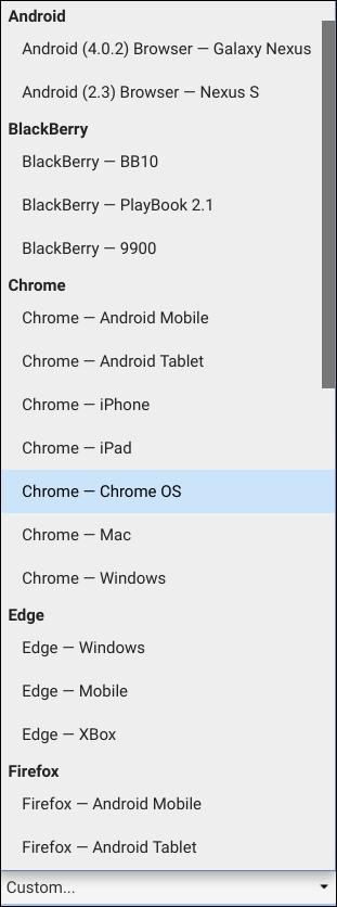 Die Auswahlliste aller vorkonfigurierten User Agents in Chrome.