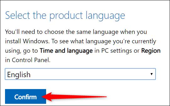 """Wählen Sie eine Sprache aus und klicken Sie dann auf """"Bestätigen Sie."""""""