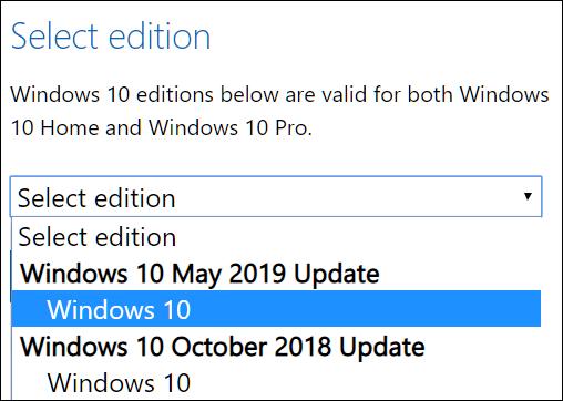 Wählen Sie eine Edition von Windows 10 zum Herunterladen aus.