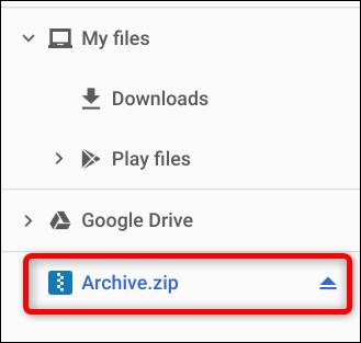 Hinweis auf der linken Seite der App, die ZIP-Datei wurde wie ein externes Laufwerk gemountet