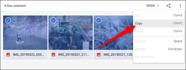 Markieren Sie die Dateien, die Sie aus der ZIP-Datei verschieben möchten, klicken Sie mit der rechten Maustaste und klicken Sie dann im angezeigten Kontextmenü auf Kopieren