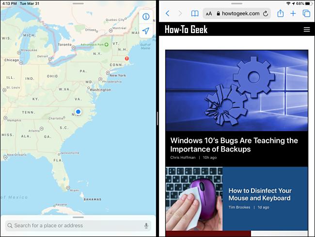 Ein Beispiel für Split View auf dem iPad